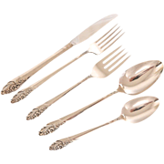 5pc Evening Star Silverplate Flatware set by Community, 1 Place Setting: Fork, Knife, Spoon