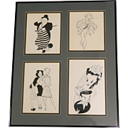 Vintage 1940s 50s Al Hirschfeld Movie Ad Slicks Prints Framed under Glass, Mickey Rooney, Frank Sinatra