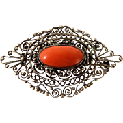 800 Silver Natural Salmon Coral Cabochon Filigree Brooch