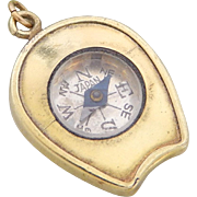 Vintage 1920s Gold Plated Horseshoe Shaped Compass Pocket Watch Fob Charm
