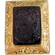 Victorian 14K Gold & Carved Root Beer Glass Tudor Style Double Cameo Brooch