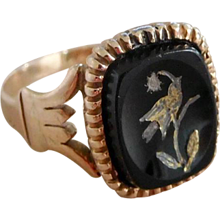 Antique Victorian 10K Rose Gold Mourning Ring w Carved Onyx Swallow, Size 4