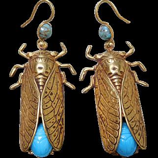 Vintage Askew London Cicada Earrings w Blue Art Glass Scarabs