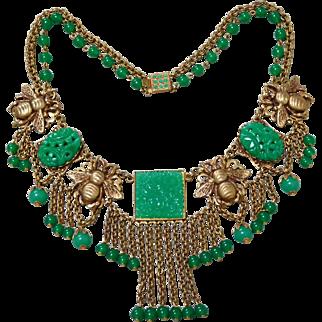 Vintage Askew London Jadeite-Color Green Glass Bee Festoon Necklace