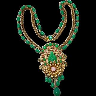 Vintage Askew London Jadeite-Color Green Art Glass Buddha Necklace