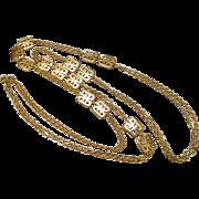 Vintage Trifari Crown Gold Plated Asian Theme Sautoir Necklace