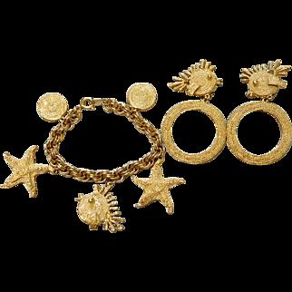 Vintage Trifari Jute Rope Texture Fish Charm Bracelet & Dangle Earrings