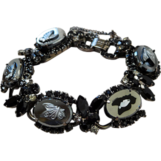 Vintage D&E Juliana Black Rhinestone Glass Butterfly Bracelet