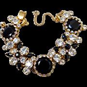 Vintage D&E Juliana Black & White Rhinestone Cluster Bracelet.