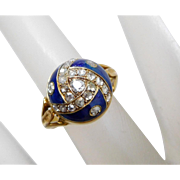 Antique Georgian 10K Yellow Gold & Diamond Blue Enamel Dome Ring