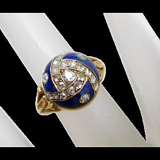 Antique Georgian 10K Yellow Gold & Diamond Blue Enamel Dome Ring