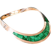 Vintage Southwest Taxco Sterling Silver Collar Necklace With Malachite Inlay
