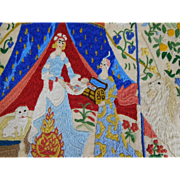 Vintage Embroidered Silk  À Mon Seul Désir Lady & The Unicorn Tapestry Panel
