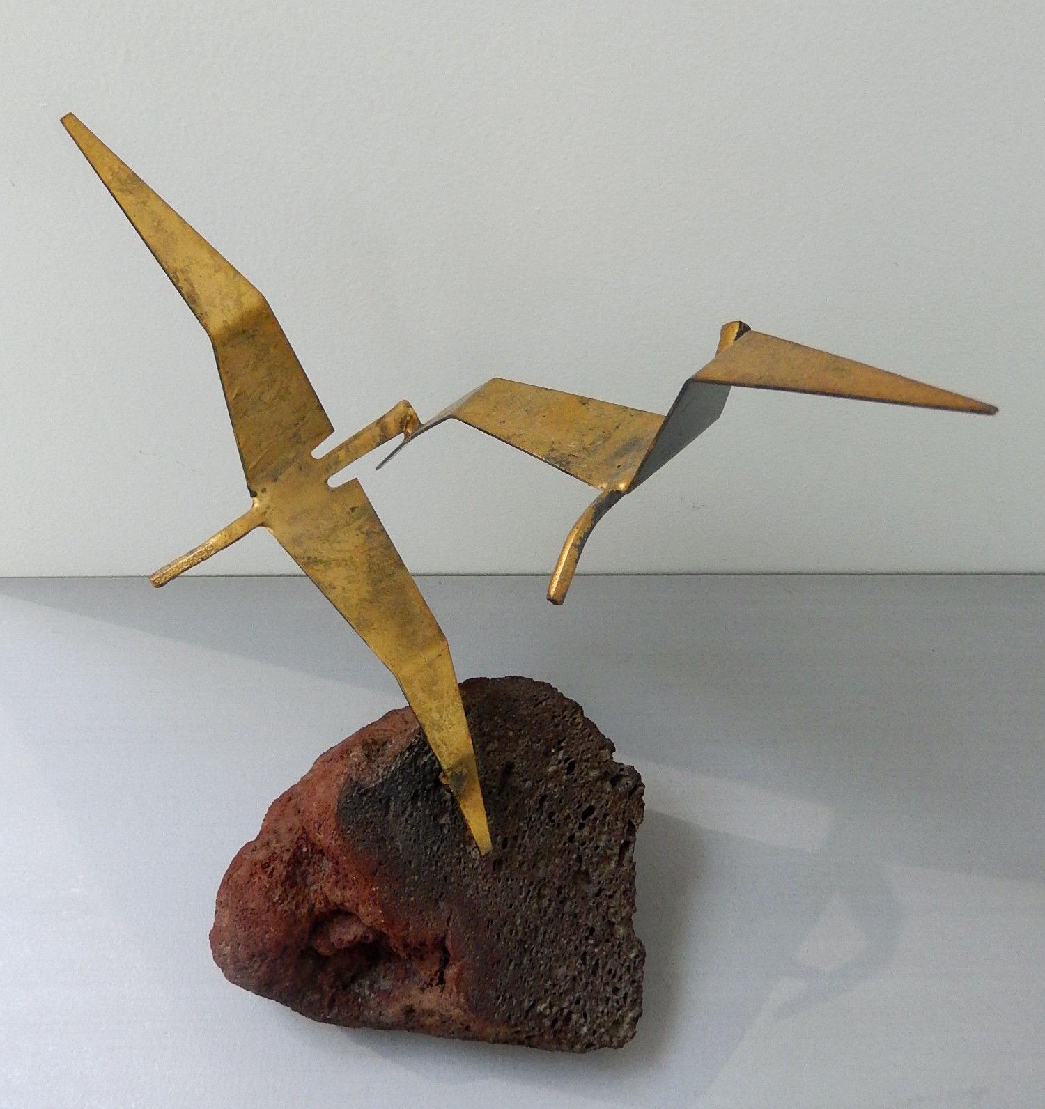 Vintage mid century modern brutalist bird sculpture statue