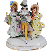 Vintage Scheibe-Alsbach German Porcelain Figurine Dapper Gent With Ladies
