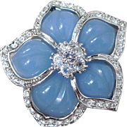 Nolan Miller Blue Lucite Flower Petal Crystal Rhinestone Necklace Enhancer Pendant