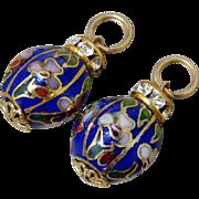 Vintage Cloisonne Enamel Chinese Flower Earring Enhancers w 10K Gold Jump Rings