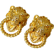 Vintage Mimi Di N Gold Plated Lion Face Door Knocker Clip On Earrings