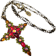 Sorrelli Bronze Tone Red & Green Rhinestone Glass Cabochon Cross Necklace