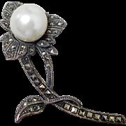 Judith Jack Marcasite & Faux Pearl Flower Brooch w Cloth Pouch