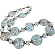 Vintage Murano Venetian Blue Aventurine Art Glass Bead Necklace