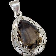 Vintage Sterling Silver & Smokey Quartz Teardrop Pendant