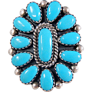 Vintage Navajo FM Begay Sterling Silver & Turquoise Petit Point Ring