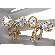 Craft Gold Plated Bow Clip On Earrings with Glittering White Swarovski Crystals