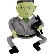 Whimsical Folk Art Frankenstein Hand Painted Plush Doll Halloween Decoration