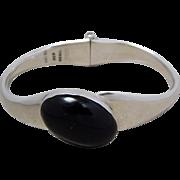 Vintage Heavy Taxco Sterling Silver & Black Onyx Clamper Bracelet