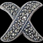 Sterling Silver & Marcasite X Kiss Enhancer Slide For Necklace Or Bracelet