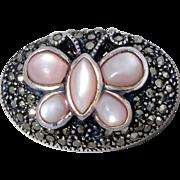 Sterling Silver & Marcasite & Mother Of Pearl Butterfly Slide Enhancer For Necklace Or Bracelet