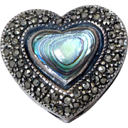 Sterling Silver & Marcasite & Abalone Shell Heart Slide Enhancer For Necklace Or Bracelet
