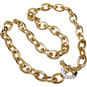 Nolan Miller Gold Plated Necklace w Pave Crystal Toggle Clasp