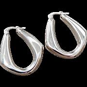 Arte D'Argento Sterling Silver Puffy Oblong Hollow Hoop Earrings