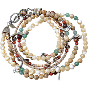 Carolyn Pollack Southwest Sterling Silver Fetish Bird & Agate Bead Necklace