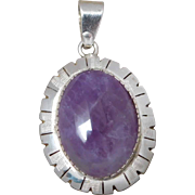 Southwest Sterling Silver Amethyst Cabochon Necklace Pendant
