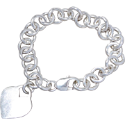 Sterling Silver Substantial Rolo Link Charm Bracelet with Heart Charm