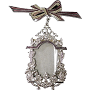 Art Deco Revival Picture Frame Brooch with Enamel Bow