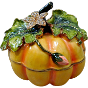Decorative Enamel & Crystal Pumpkin Jewelry Ring Trinket Box