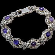 Sterling Silver Amethyst & Masticates Link Bracelet