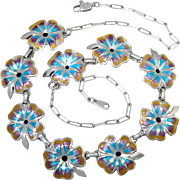 Taxco Sterling Silver Enamel Flower Link Necklace