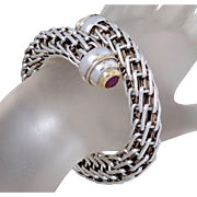 Woven Sterling Silver Chain Mail & Ruby Link Bracelet