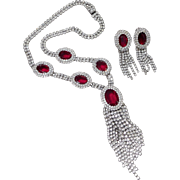 Kramer Red Headlight Crystal Necklace & Earrings Set