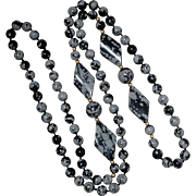 14K Gold Bead & Snowflake Obsidian Beaded Necklace