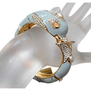 Ciner Grey Enamel & Crystal Rhinestone Dolphin Bangle Bracelet With Tags