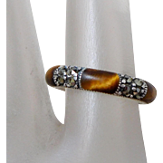 Sterling Silver Marcasite & Tiger's Eye Cabochon Band Ring, Size 6