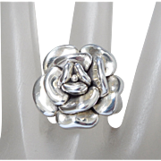 Sterling Silver Puffy 3D Rose Statement Ring, Size 8