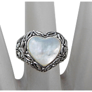 Sterling Silver & Mother of Pearl Heart Ring, Size 7