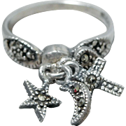 Sterling Silver & Marcasite Star, Moon, Cross, Star Charm Ring, Size 7